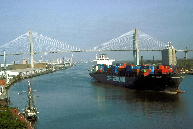 Cargo ship port of savannah